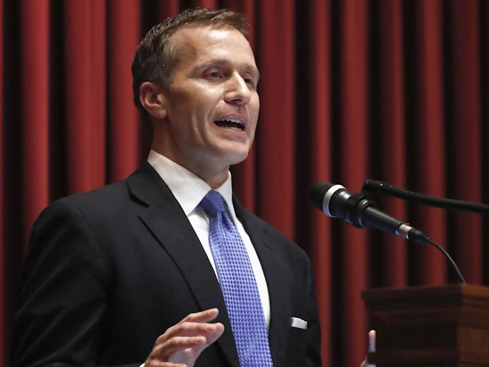 Missouri governor Eric Greitens delivers the annual State of the State address to a joint session of the House and Senate in Jefferson City: AP