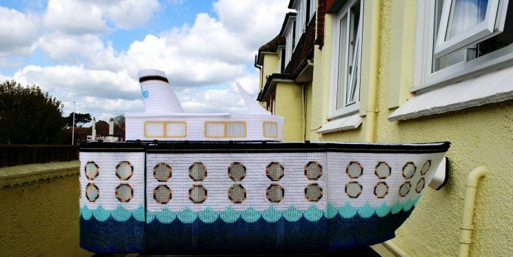 A great-grandmother who was given just months to live has spent two years knitting an impressive five-foot replica ocean liner, saying: