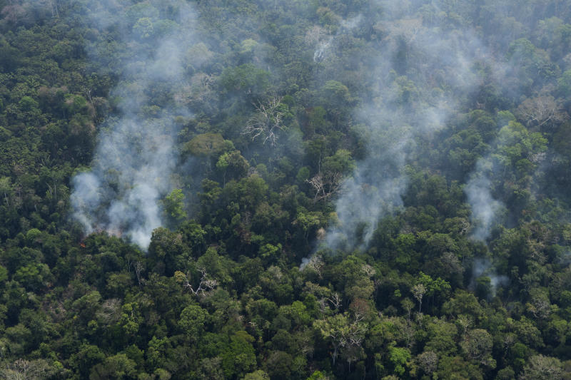 Small columns of smoke rise from the forest near Porto Velho, Brazil, Friday, Aug. 23, 2019. Under increasing international pressure to contain fires sweeping parts of the Amazon, Brazilian President Jair Bolsonaro on Friday authorized use of the military to battle the massive blazes. (AP Photo/Victor R. Caivano)