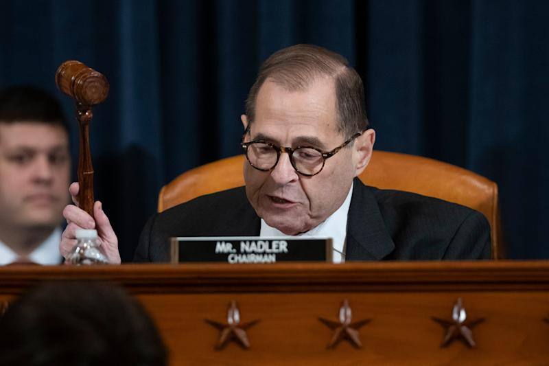 House Judiciary Committee Chairman Rep. Jerrold Nadler, D-N.Y., gavels a recess of a House Judiciary Committee markup of the articles of impeachment against President Donald Trump and announces the committee will reconvene on Friday for votes, on Capitol Hill, Thursday, Dec. 12, 2019, in Washington. (AP Photo/Alex Brandon)