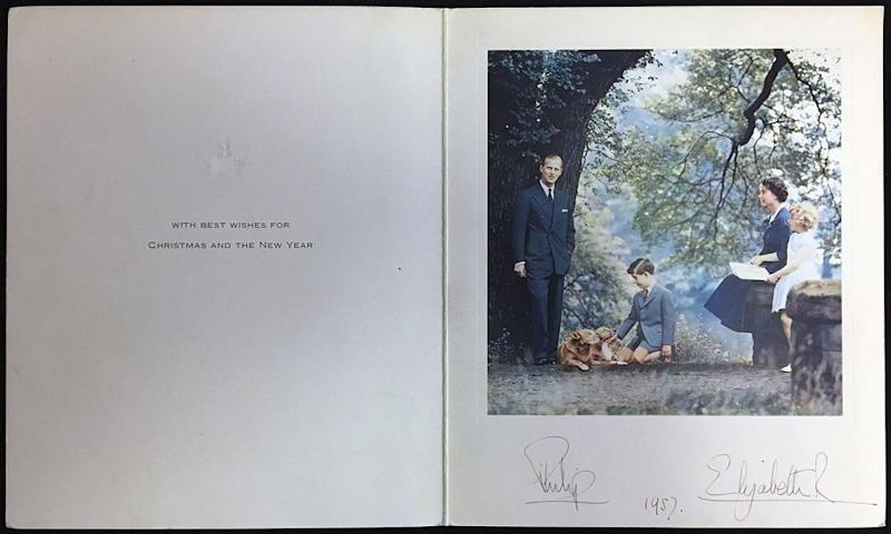Prince Philip, Prince Charles, Queen Elizabeth and Princess Anne in 1957's Christmas card | Rowleys/BNPS