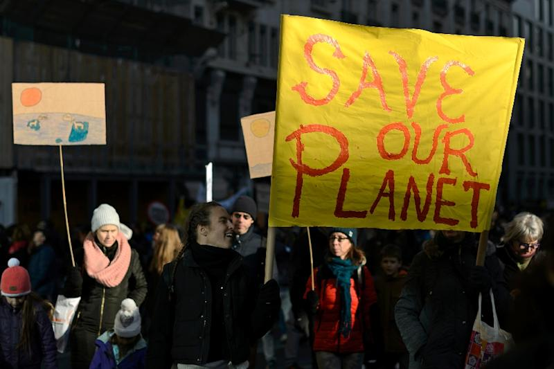 Demonstrators protest on November 28, 2015 in Geneva, during a rally ahead of the UN climate summit COP21 (AFP Photo/Fabrice Coffrini )