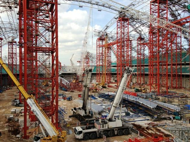 Work in progress at the National Stadium, due for completion in April 2014 along with the Singapore Sports Hub. (Yahoo! Photo)