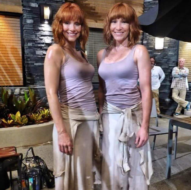 <p>All that running in high heels? Thankfully, Howard didn't have to do <i>all</i> of it in <i>Jurassic World</i> (pictured here with her double, Whitney Coleman).</p><p><i>(Photo: Instagram)</i></p>
