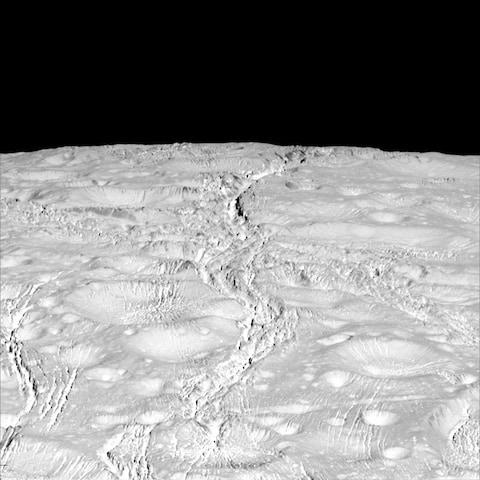 The north pole of Saturn's icy moon Enceladus is seen in an image from the Cassini spacecraft - Credit: NASA