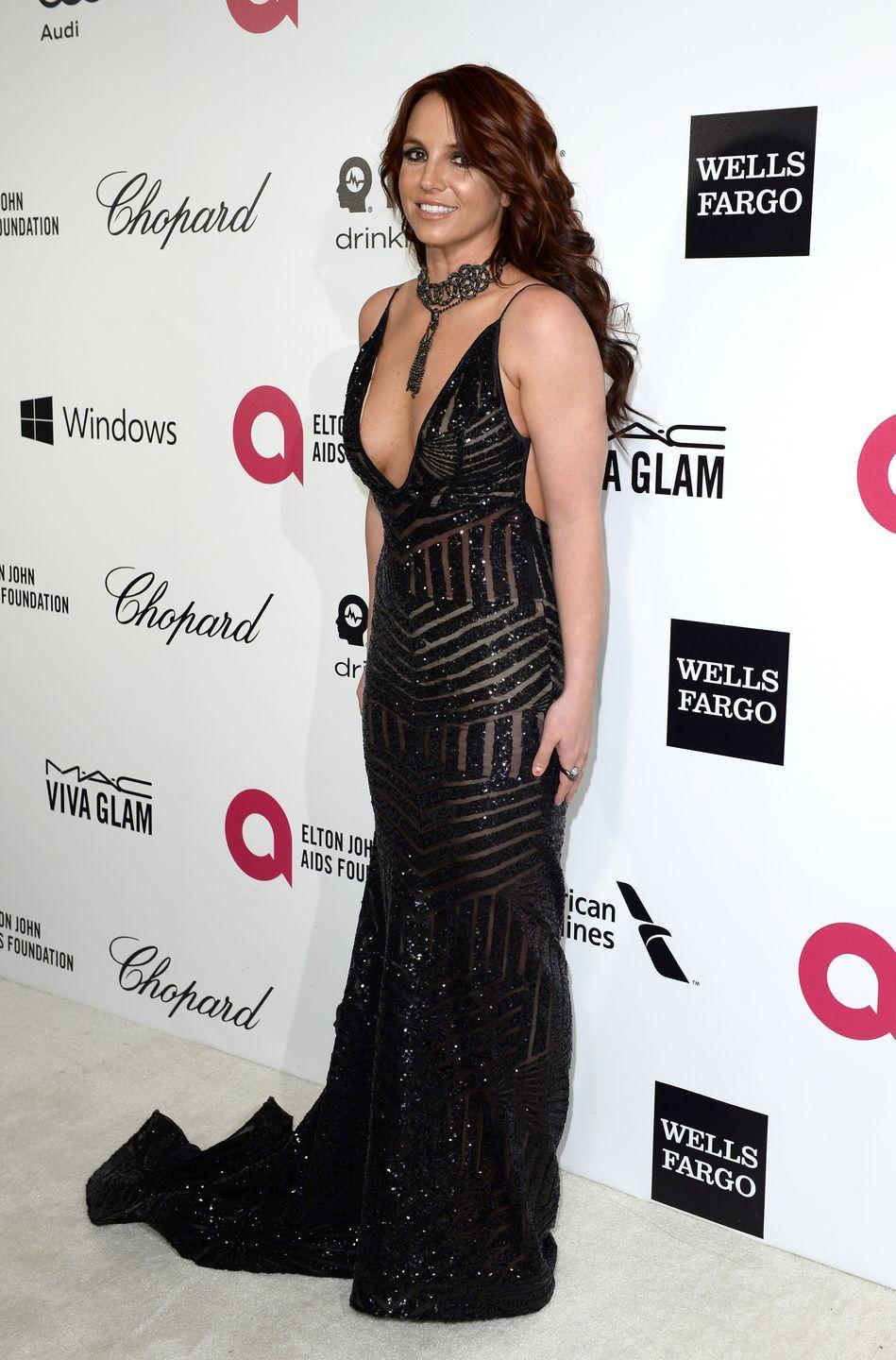 <p>Britney Spears wears a jaw-dropping gown for the 22nd Annual Elton John AIDS Foundation's Oscar Viewing Party on March 2, 2014 in West Hollywood, California. </p>