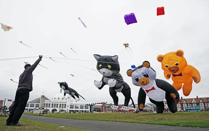Giant kites are flown by experts during the Whitley Bay Kite Festival in North Tyneside - PA