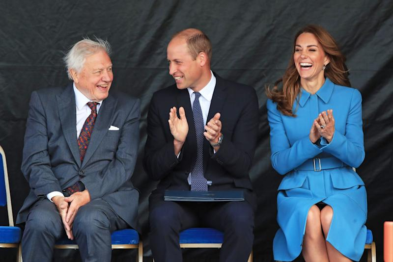 The Duke and Duchess of Cambridge laugh with Sir David Attenborough during the naming ceremony of the polar research ship, which the public voted to call Boaty McBoatface, at the Cammell Laird shipyard in Birkenhead, Merseyside on Thursday September 26, 2019.