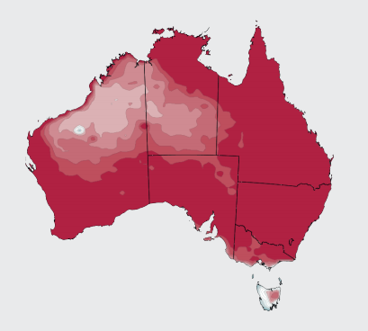 Graphic of Australia showing shades of red depicting the heat predicted for summer this year.