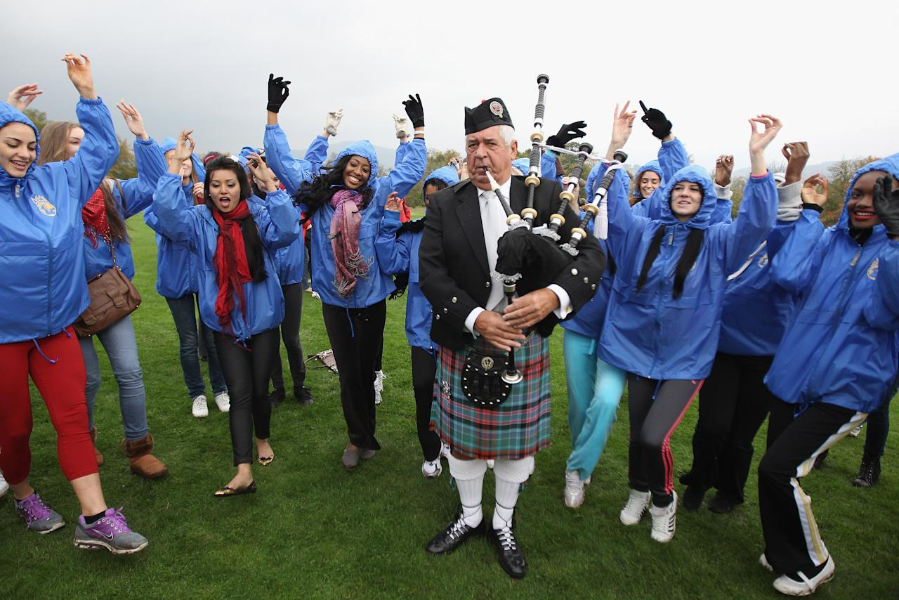 CRIEFF, SCOTLAND - OCTOBER 24:  Miss World participants take part in the Miss World Highland Games at Crieff Hotel on October 24, 2011 in Crieff, Scotland. One hundred and twenty two participants of the Miss World are visiting Scotland to as part of a UK tour to celebrate Miss World's 60th birthday. The final of the competition will take place in Earls Court, London on Sunday 6trh of November.  (Photo by Jeff J Mitchell/Getty Images)
