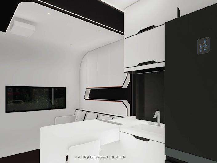 rendering of the two-bedroom Cube Two X kitchen and living room