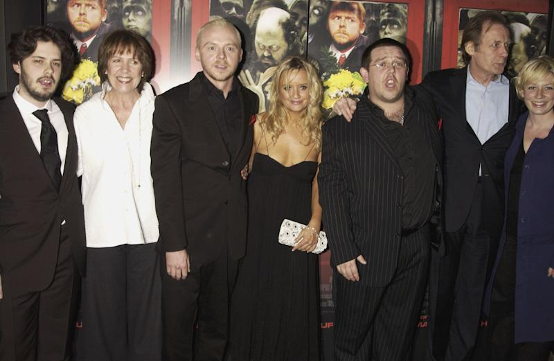"""LONDON - MARCH 30: Penelope Wilton, Simon Pegg, Lucy Davies, Nick Frost and Bill Nighy attend the UK Premiere of """"Shaun of the Dead"""" at The Vue in Leicester Square followed by the party at the Atlantic Bar and Grill on March 30, 2004 in London. (Photo by Dave Benett/Getty Images)"""