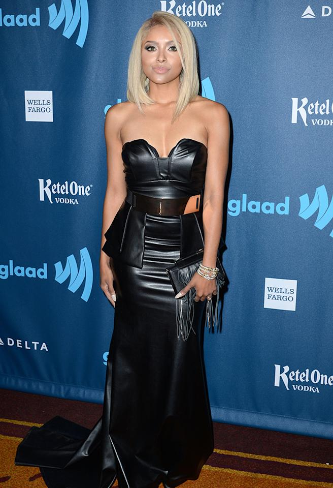 LOS ANGELES, CA - APRIL 20:  Singer/actress Kat Graham arrives at the 24th Annual GLAAD Media Awards presented by Ketel One and Wells Fargo at JW Marriott Los Angeles at L.A. LIVE on April 20, 2013 in Los Angeles, California.  (Photo by Earl Gibson III/Getty Images)