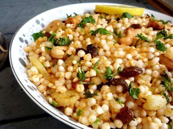 <p><strong>Image courtesy : iDiva.com</strong></p><p><strong>SABUDANA KHICHDI</strong></p> <p><strong>Ingredients:<br /></strong><br />1 1/2 cups sago (sabudana)<br />1/4 cup peanuts<br />4-5 green chillies <br />1 medium-sized potato <br />3 tbsp ghee <br />1 sprig curry leaves <br />1 tsp cumin seeds <br />Rock Salt (sendha mazak) to taste<br />1 tsp lemon juice <br />2 tbsp fresh coconut scraped<br />A few sprigs of fresh coriander leaves<br /><br /><strong>Method:<br /></strong></p> <ol> <li>Wash sabudana two to three times and then soak in one-cup water for three to four hours. Sabudana grains should be separate and moist. </li> <li>Roast peanuts on a hot griddle, peel off the skin and then grind coarsely. </li> <li>Wash green chillies, remove stem and then chop finely. </li> <li>Peel and wash the potato and cut into half cm. cubes. </li> <li>Wash and chop coriander leaves.</li> <li>Heat ghee in a pan, add curry leaves, cumin seeds and chopped green chillies. When cumin seeds crackle add the potato cubes. Cook till the potatoes are done. </li> <li>Add sabudana, scraped coconut and ground peanuts, sauté for four to five minutes, stirring well.</li> <li>Sprinkle a little water, add salt and lime juice. Mix well. Remove from heat. Sprinkle chopped coriander leaves. Serve hot.</li> </ol> <p> </p><p><strong>Related Articles - </strong></p><p><a href='https://ec.yimg.com/ec?url=http%3a%2f%2fidiva.com%2fnews-relationships%2fdifferent-dussehra-traditions-across-india%2f8187%26%23x27%3b&t=1490407846&sig=r_o001r0kWZ3dCnLgKmn9A--~C target='_blank'>Different Dussehra Traditions Across India</a></p><p><a href='http://idiva.com/news-health/healthy-ways-to-fast-this-navratri/1986' target='_blank'>Healthy Ways to Fast This Navratri</a></p>