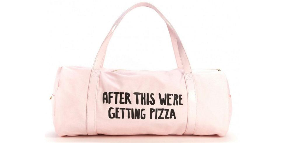 "<p><i>Getting Pizza Gym Bag, $28, </i><a rel=""nofollow"" href=""http://www.dormify.com/gifts-kits/for-bff/getting-pizza-gym-bag""><i>Dormify</i></a><i></i></p><p><span></span></p>"