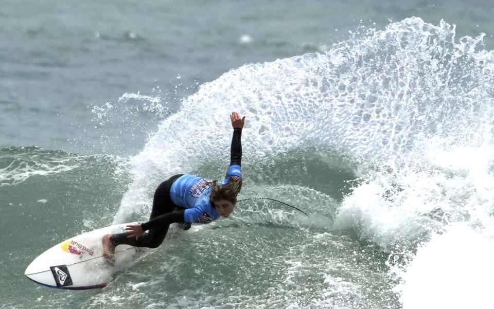 Surfer Caroline Marks of team USA during a Olympic exhibition a the USA Surfing Junior championships at the Lower Trestles in San Clemente on Tuesday, June 22, 2021. (Keith Birmingham/The Orange County Register via AP)