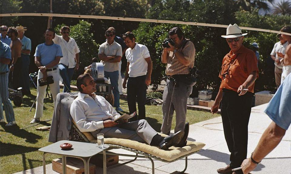 <p>Sean Connery kicks back between scenes playing James Bond on the set of Diamonds Are Forever in Palm Springs, California. </p>