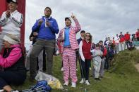 Fans cheer during a practice day at the Ryder Cup at the Whistling Straits Golf Course Thursday, Sept. 23, 2021, in Sheboygan, Wis. (AP Photo/Charlie Neibergall)