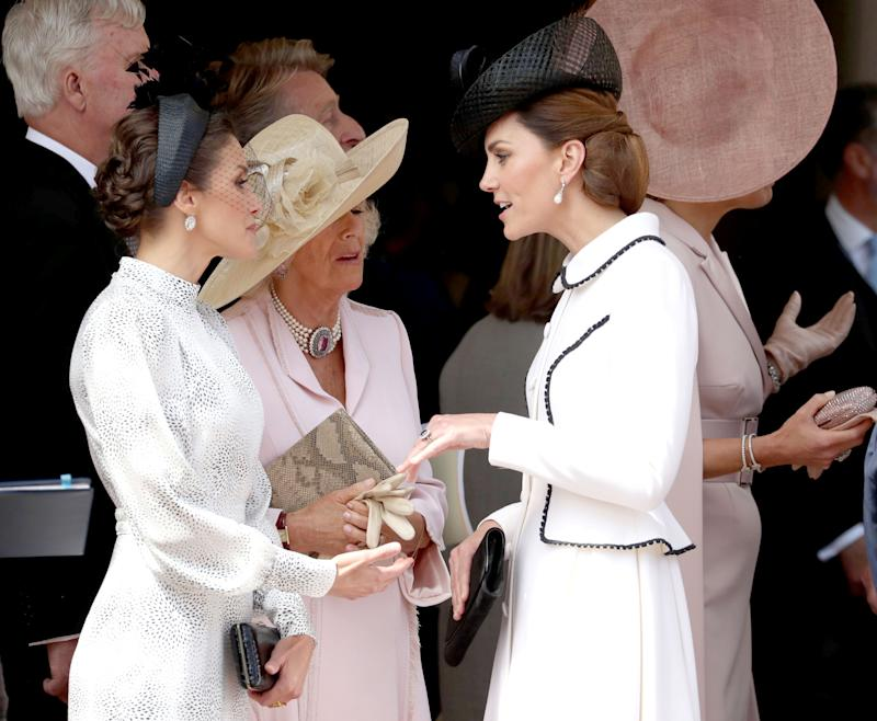 Queen Letizia of Spain, Britain's Camilla, Duchess of Cornwall and Catherine, Duchess of Cambridge attend the Order of the Garter Service at Windsor Castle, Britain June 17, 2019. Steve Parsons/Pool via REUTERS