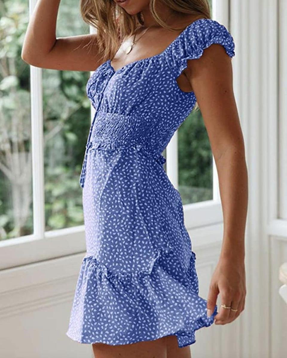 <p>This <span>Yobecho Sweetheart Neckline Print Dress</span> ($25 - $37) is comfortable and playful for your upcoming summer dates.</p>