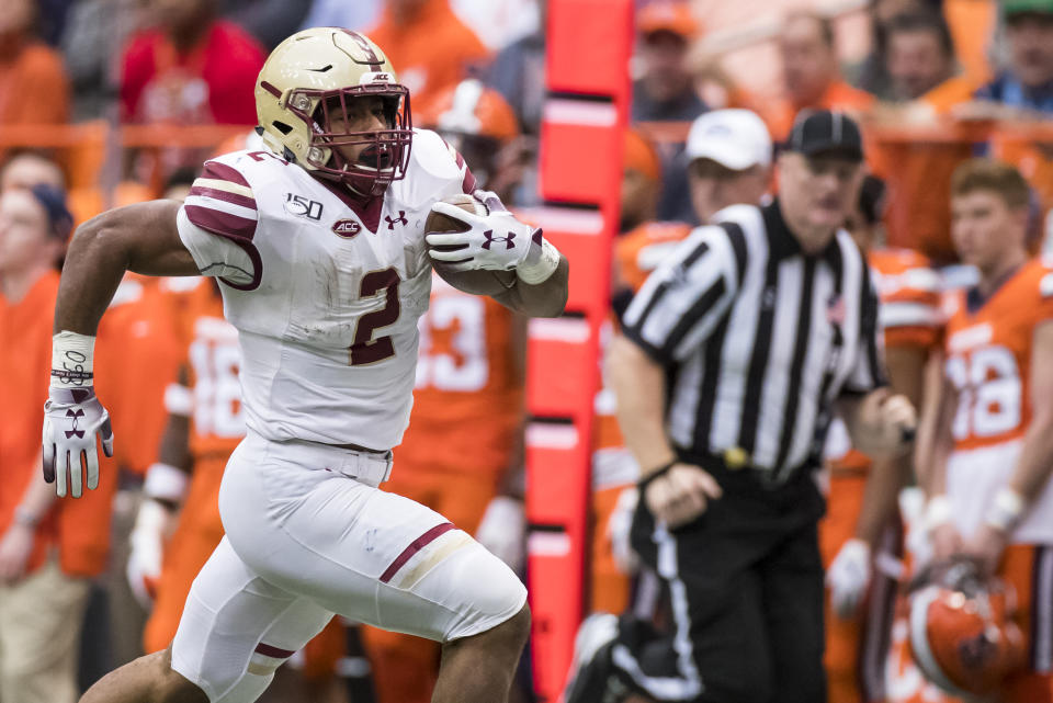 AJ Dillon of the Boston College Eagles might be the one 2020 NFL draft runner who compares to Derrick Henry. (Photo by Brett Carlsen/Getty Images)