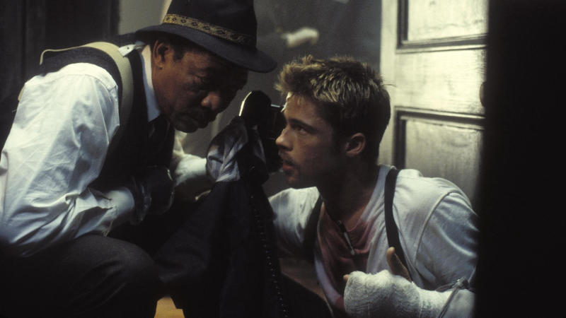 Brad Pitt injured his arm on the set of 'Seven'. (Credit: New Line Cinema)