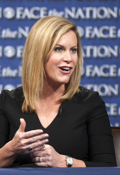 """In this July 15, 2012, photo released by CBS, Stephanie Cutter, deputy campaign manager for President Barack Obama's 2012 re-election, talks on CBS's """"Face the Nation"""" in Washington. (AP Photo/CBS, Chris Usher) MANDATORY CREDIT"""