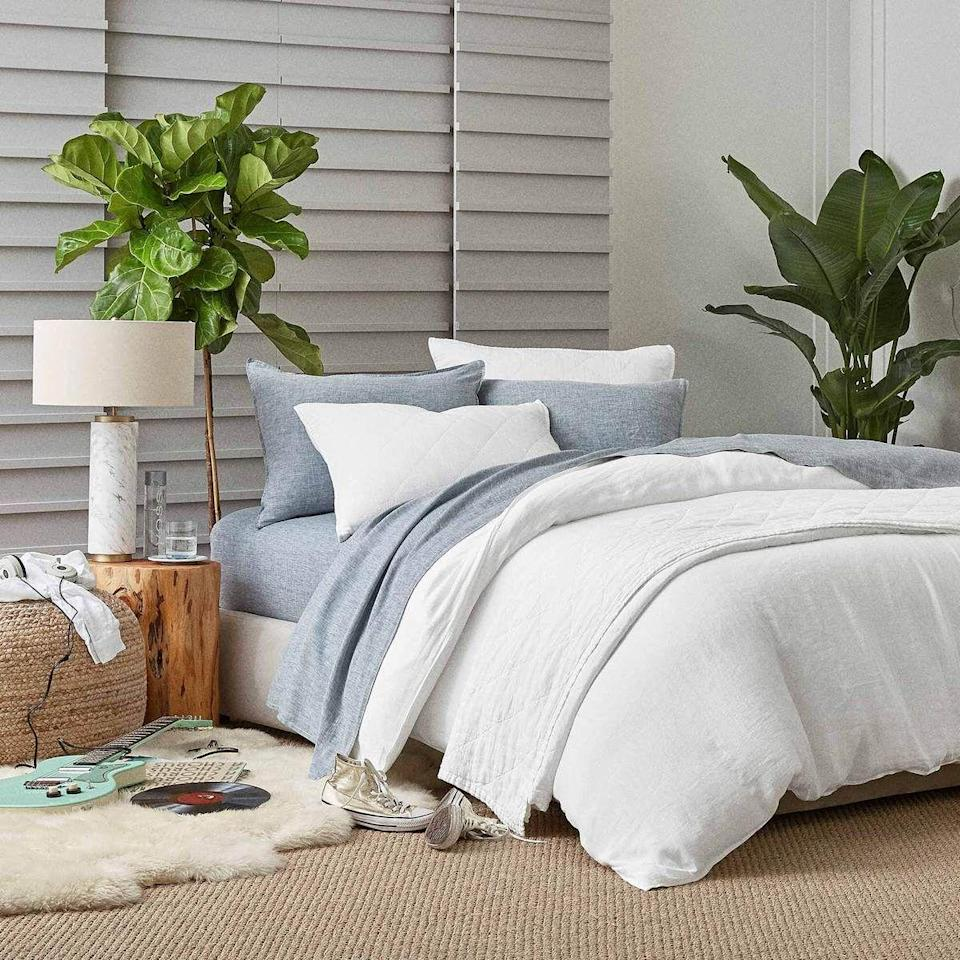 """<p><strong>Brooklinen</strong></p><p>brooklinen.com</p><p><a href=""""https://go.redirectingat.com?id=74968X1596630&url=https%3A%2F%2Fwww.brooklinen.com%2Fproducts%2Flinen-core-sheet-set&sref=https%3A%2F%2Fwww.housebeautiful.com%2Fshopping%2Fbest-stores%2Fg35154173%2Fbrooklinen-surprise-sale-january-2021%2F"""" rel=""""nofollow noopener"""" target=""""_blank"""" data-ylk=""""slk:Shop Now"""" class=""""link rapid-noclick-resp"""">Shop Now</a></p><p><strong><del>$259</del> $220.15 (15% off)</strong></p><p>Already counting down the days until summer? Get a head-start with these easy, breezy linen sheets.</p>"""