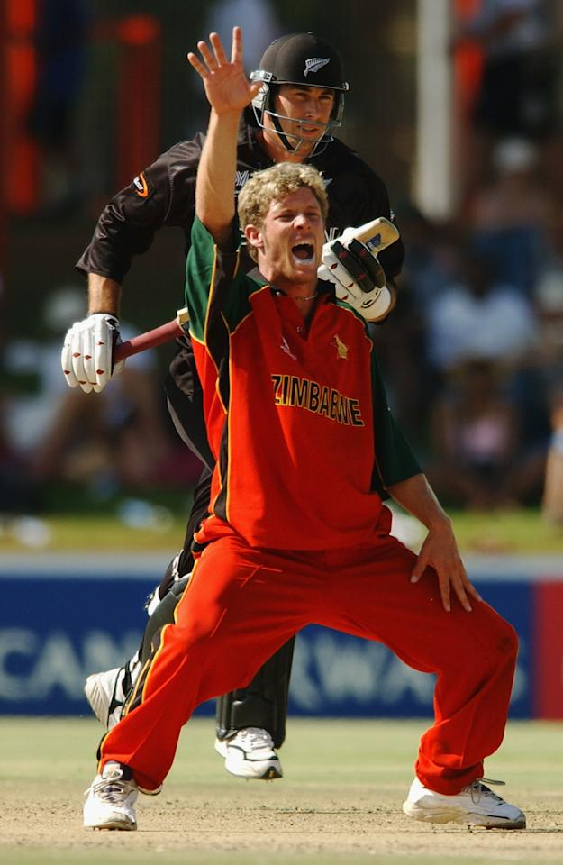 BLOEMFONTEIN - MARCH 8:  Andy Blignaut of Zimbabwe successfully appeals for the wicket of Stephen Fleming of New Zealand during the ICC Cricket World Cup 2003 Super Sixes match between New Zealand and Zimbabwe held on March 8, 2003 at Goodyear Park, in Bloemfontein, South Africa. New Zealand won the match by 6 wickets. (Photo by Nick Laham/Getty Images)