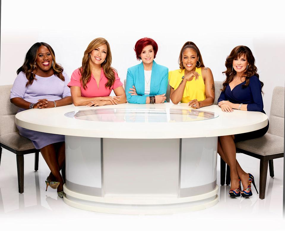 "The women of ""The Talk"" — from left, Sheryl Underwood, Carrie Ann Inaba, Sharon Osbourne, Eve Cooper and Marie Osmond — promote their CBS show. (Photo: Art Streiber/CBS via Getty Images)"