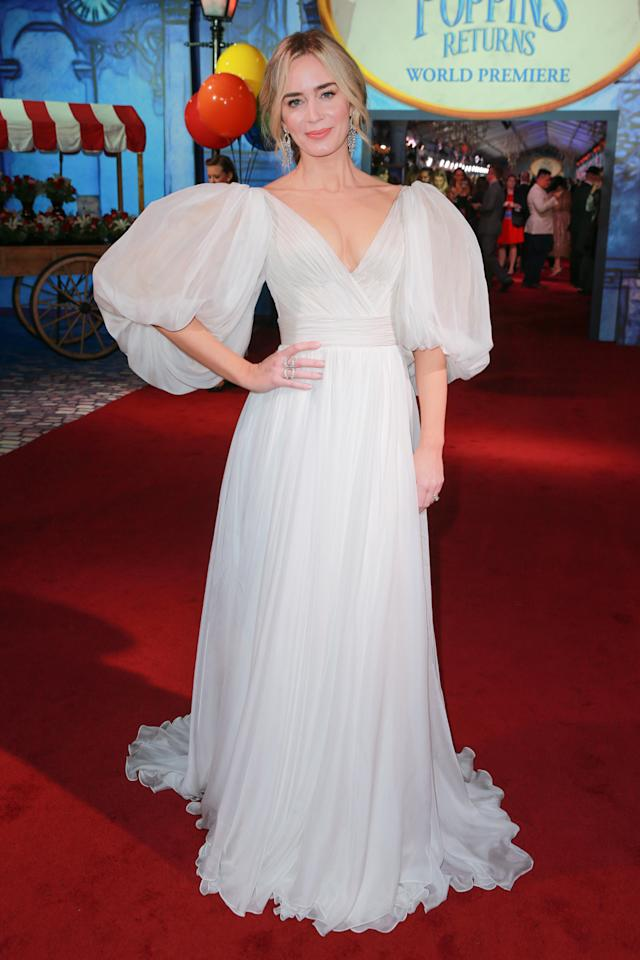 <p>The actress wore a dress with billowing sleeves by Yanina Couture. <em>[Photo: Getty]</em> </p>