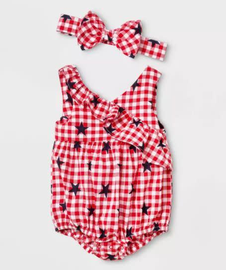 "Find this gingham romper with headband for $12 at <a href=""https://yhoo.it/3dKS0wy"" rel=""nofollow noopener"" target=""_blank"" data-ylk=""slk:Target"" class=""link rapid-noclick-resp"">Target</a>."
