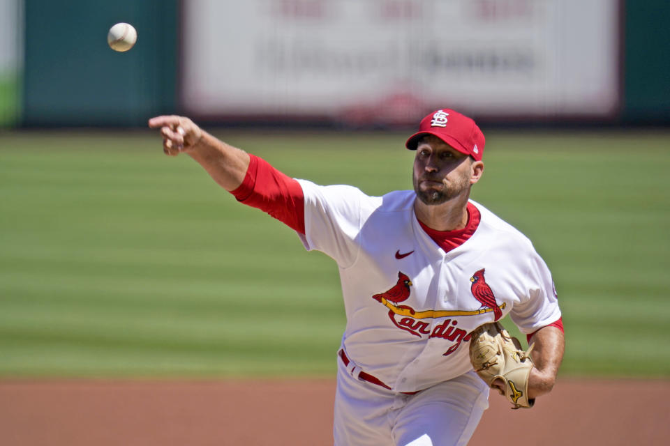 St. Louis Cardinals starting pitcher Adam Wainwright throws during the first inning of a baseball game against the Washington Nationals Wednesday, April 14, 2021, in St. Louis. (AP Photo/Jeff Roberson)