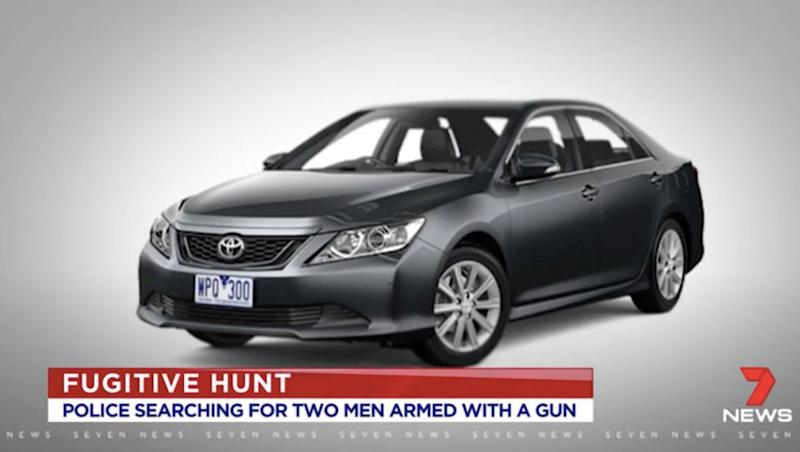 The pair are believed to be driving a black Toyota Aurion. Source: 7 News