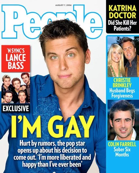 <p>NSYNC singer Lance Bass came out in 2006 and posed for the cover of People Magazine.<br>(Photo: People Magazine) </p>
