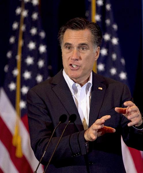 Republican presidential candidate, former Massachusetts Gov. Mitt Romney addresses an audience during a campaign stop in Metairie, La., Friday, March 23, 2012. (AP Photo/Steven Senne)