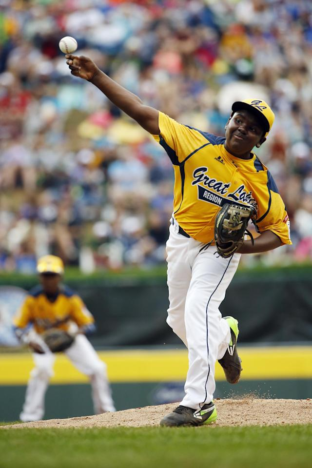 Chicago's Joshua Houston pitches during the first inning of the United States Championship baseball game against Las Vegas at the Little League World Series, Saturday, Aug. 23, 2014, in South Williamsport, Pa. Chicago won 7-5. (AP Photo/Matt Slocum)
