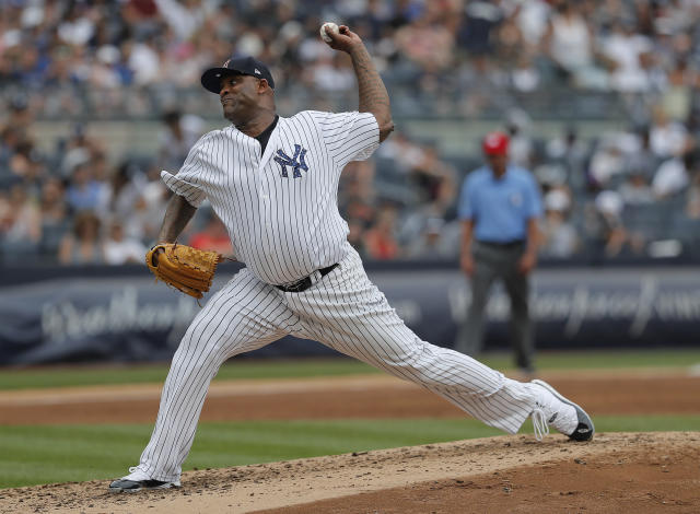 New York Yankees starting pitcher CC Sabathia delivers against the Atlanta Braves during the third inning of a baseball game, Wednesday, July 4, 2018, in New York. (AP Photo/Julie Jacobson)