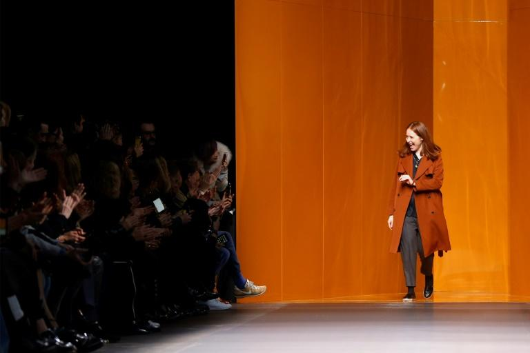 French fashion designer Nadege Vanhee-Cybulski for Hermes acknowledges the audience at the end of the 2016-2017 fall/winter ready-to-wear collection