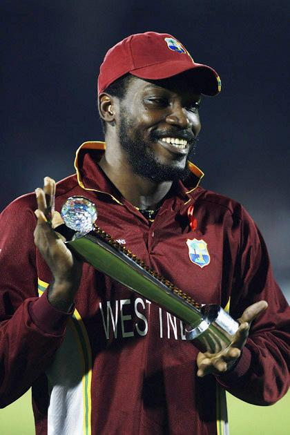 MUMBAI (BOMBAY), INDIA - NOVEMBER 05:  Chris Gayle of West Indies with his man of the series award after the ICC Champions Trophy Final match between Australia and West Indies, at the Brabourne Stadium on November 5, 2006, in Mumbai, India.  (Photo by Clive Mason/Getty Images)