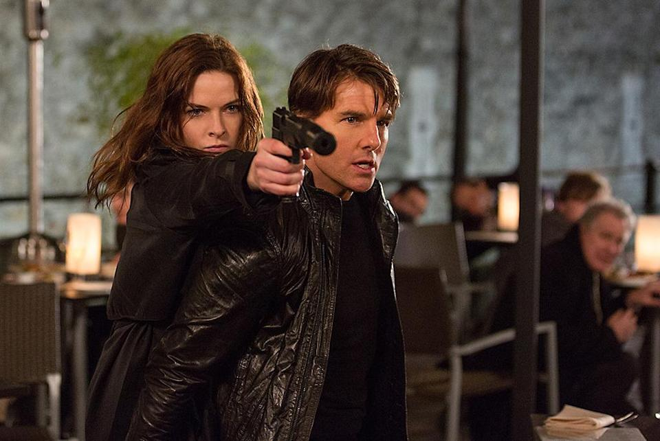 """<p>Everyone's favorite superspies faced off at the box office this year, and while November's <i>SPECTRE</i> had a bigger opening ($70 million), July's <i>Mission: Impossible — Rogue Nation</i> (pictured) almost matched it in <a href=""""http://www.boxofficemojo.com/yearly/chart/?yr=2015"""" rel=""""nofollow noopener"""" target=""""_blank"""" data-ylk=""""slk:the final tally"""" class=""""link rapid-noclick-resp"""">the final tally</a> (and got better reviews). Both emerged as winners, but we may look back on 2015 as the year the <i>M:I </i>franchise became more popular than its spy-games granddaddy. (Photo: Paramount)</p>"""