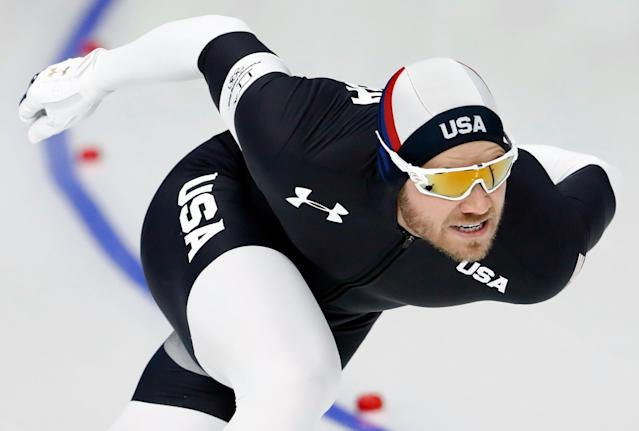 Speed Skating - Pyeongchang 2018 Winter Olympics - Men's 1000m competition finals - Gangneung Oval - Gangneung, South Korea - February 23, 2018 - Joey Mantia of the U.S. competes. REUTERS/Damir Sagolj