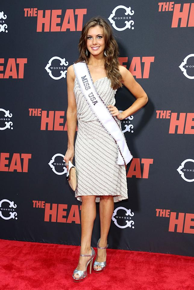 "NEW YORK, NY - JUNE 23: Miss USA 2013 Erin Brady attends ""The Heat"" New York Premiere at Ziegfeld Theatre on June 23, 2013 in New York City. (Photo by Astrid Stawiarz/Getty Images)"