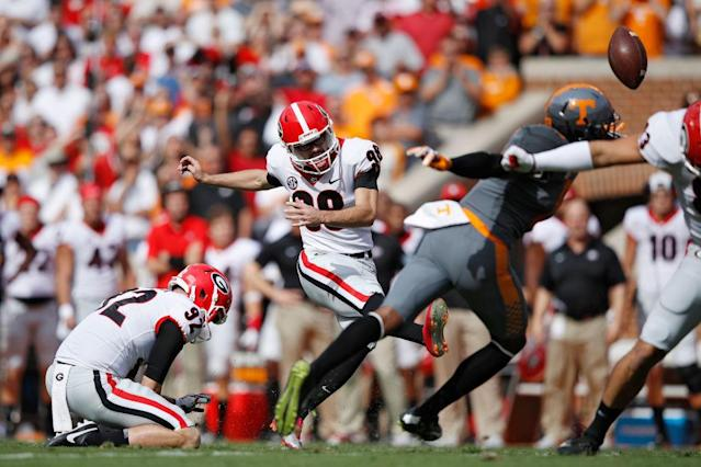 Rodrigo Blankenship boots a field goal against Tennessee. (Getty)