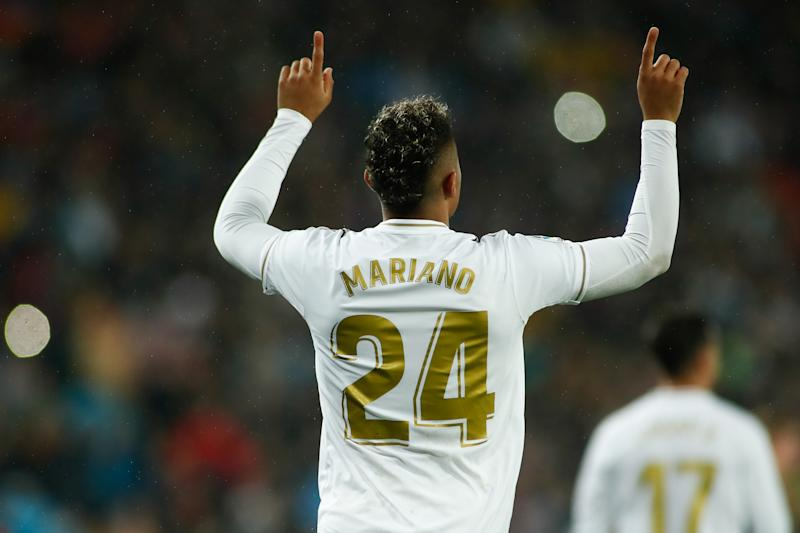 MADRID, SPAIN - MARCH 01: Mariano of Real Madrid celebrates a goal during the Spanish League, La Liga, football match played between Real Madrid CF and FC Barcelona at Santiago Bernabeu stadium on March 01, 2020 in Madrid, Spain. (Photo by Oscar J. Barroso / AFP7 / Europa Press Sports via Getty Images)