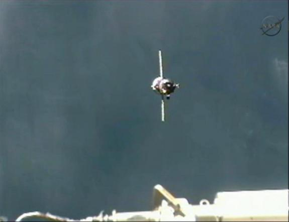 The unmanned Russian Progress 48 spacecraft arrives at the International Space Station on Aug. 1, 2012. The cargo ship docked to the space station roughly six hours after it launched into orbit.