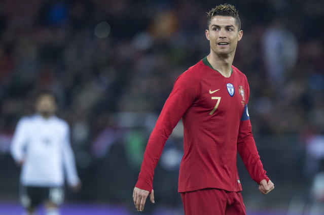 Portugal's Cristiano Ronaldo pictured during the soccer friendly game Portugal against Egypt, in the Letzigrund stadium in Zurich, Switzerland, on Friday, March 23, 2018. (Melanie Duchene/Keystone via AP)