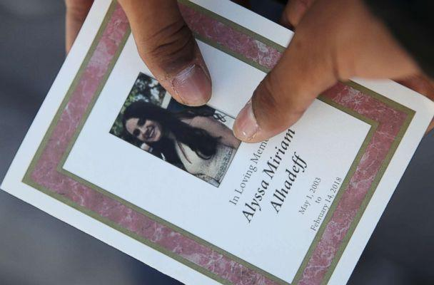 PHOTO: A program is seen from the funeral of Alyssa Alhadeff at the Garden of Aaron at Star of David Memorial Gardens, Feb. 16, 2018 in Parkland, Florida. Alhadeff was one of 17 people killed in the shooting at Marjory Stoneman Douglas High School. (Joe Raedle/Getty Images)