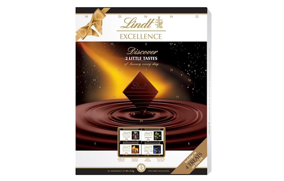 """<p>New for Christmas 2017, Lindt's Excellence calendar is for any dark chocolate fans out there. Enjoy plain, orange, mint and sea salt chocolates. The best part? You get two every single day.<br><a rel=""""nofollow noopener"""" href=""""http://www.lindt.co.uk/"""" target=""""_blank"""" data-ylk=""""slk:Lindt, £12"""" class=""""link rapid-noclick-resp""""><i>Lindt, £12</i></a> </p>"""