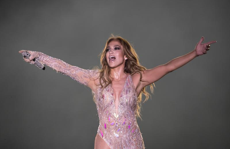 Singer Jennifer Lopez performs onstage during her concert on the beach of North Coast city of New Alamein, north of the Egyptian Capital Cairo on August 9, 2019. - This is Lopez' first concert in Egypt. (Photo by Khaled DESOUKI / AFP) (Photo credit should read KHALED DESOUKI/AFP/Getty Images)